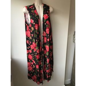 🌿 Gorgeous Rose Floral Longline Vest Cardigan
